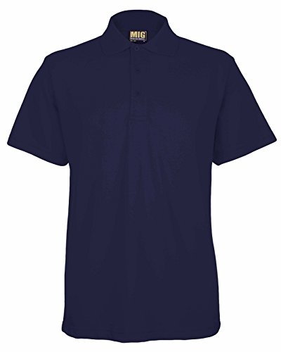 Mens Active Pique Polo T Shirts Sizes XS to 6XL In 8 Colours By MIG - WORK CASUAL SPORTS LEISURE (6XL - XXXXXXL, NAVY)