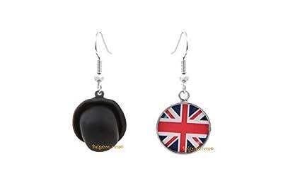 """Lady-Charms - Fait-main - Boucles d'oreilles /""""Chapeau melon et drapeau anglais"""""""