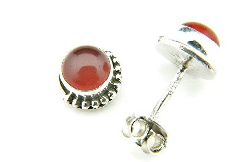 Ohrstecker Ohrringe Silber 925 Sterlingsilber Karneol orange rot Stein 7 mm x 7 mm (MOS 28)