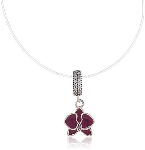 Fleur breloque avec pierre CZ transparent et fuchsia en émail argent sterling 925Orchidée Pendentif pour bracelets Pandora à breloques