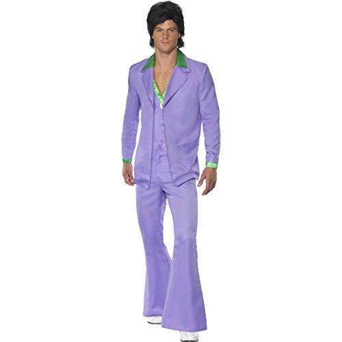 Disco Kostüm Herren 70er Jahre Outfit L 52/54, lila Discoanzug Schlager Herrenkostüm 60er Jahre Anzug Mottoparty Verkleidung