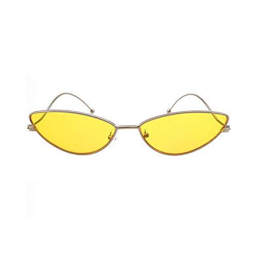 Sport-Sonnenbrillen, Vintage Sonnenbrillen, NEW Cat Eye Sunglasses Men Women Fashion Brand Designer Metal Frame Sexy Vintage Sun Glasses Oculos De Sol UV400 Yellow