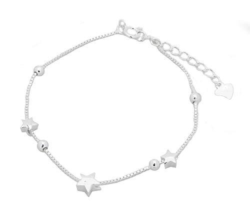 Musthaves Damen Armband mit Sternen - 925er Sterlingsilber - Länge verstellbar von 16 bis 19 cm
