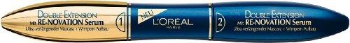 L'Oréal Paris Double Extension Re-novation Serum Mascara, schwarz - Wimperntusche für sichtbar starke und ultra lange Wimpern mit...