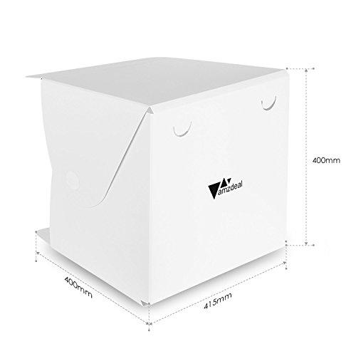 Amzdeal Caja de fotografía/ Caja de luz portátil para hacer fotos a objetos de pequeño tamaño 30LEDs 40 x 40 cm con dos fondos negro/ blanco