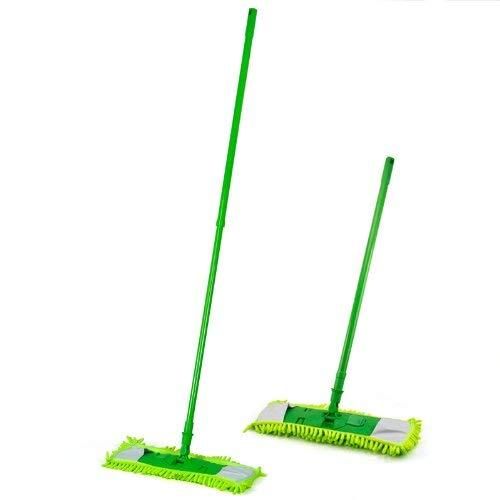Zeagro Mikrofaser-Wischmop-Reiniger, ausziehbar, für Holz, Laminat, Fliesen, Boden nass trocken, Grün