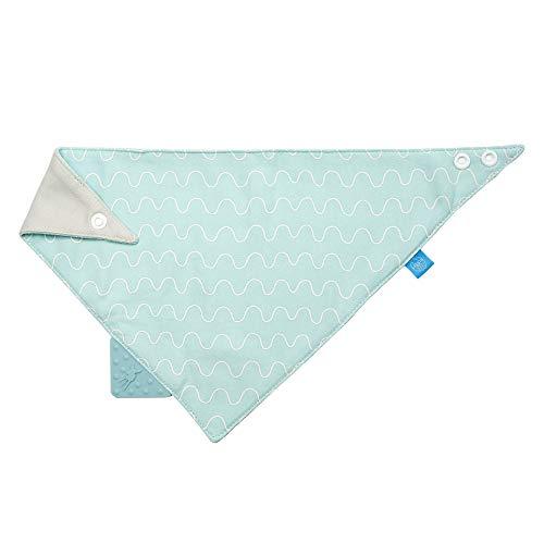 LÄSSIG Baby Bandana mit Beißhilfe Lätzchen Baumwolle Druckknopf saugfähig doppellagig beidseitig tragbar/Bandana, Vibration, blue