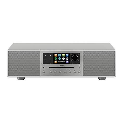 sonoro MEISTERSTÜCK Kompaktanlage Streaming+ (FM/DAB+, CD, AUX, Bluetooth, Spotify, Amazon Music, Napster, Qobuz, Tidal, Deezer) Silber/Space Grau