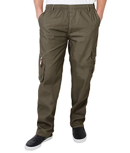 KRISP Pantalon Homme Cargo Militaire Poches, Kaki (7918), M (Ceinture 71cm-76cm/Longueur 78.5cm), 7918-KHA-M