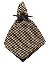Tan Check Plaid 45,7x 45,7cm alle Baumwolle Serviette Set von 4 ()