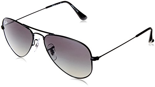 RAYBAN JUNIOR Unisex-Kinder Sonnenbrille Aviator Junior Shiny Black/Lightgreygradientdarkgrey, 52