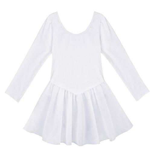 Ballett Kleid Kostüm (iEFiEL Kinder Mädchen Ballett Kleid Flügelärmel Kinder Ballettkleidung Ballettanzug Trikot Tanzkleid (122-128, Weiß)