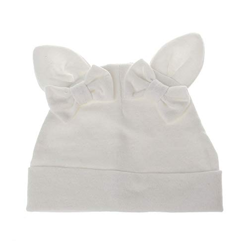 FENGJIAREN Herbst Und Winter Bow Kinder White Hat Rabbit Ears Form Stricken Warme Mütze