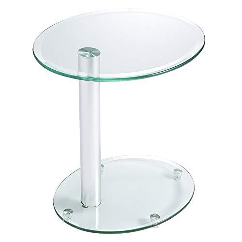 RFIVER Klarglas Couchtisch Beistelltisch Sofa Tisch Nachttisch Nesting Tisch Oval 45x35x45 cm ET3001 - Glas-modernen-sofa-tisch