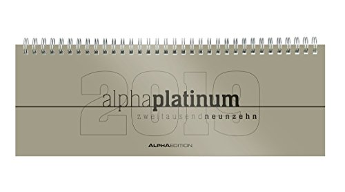 Preisvergleich Produktbild Tisch-Querkalender 1 Woche auf 2 Seiten alpha platinum mit Reg. 2019