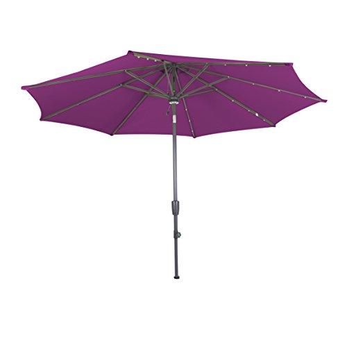greemotion Sonnenschirm 120219, violett-farbener Solarschirm, mit LEDs im Schirmdach, Sommerschirm mit Kurbel zum Aufspannen, der Strandschirm hat eine Auto-Knickfunktion, der Balkonschirm ist höhenverstellbar und besteht aus Stahl und Polyester, die Maße des Marktschirms betragen ca. Ø 300 cm