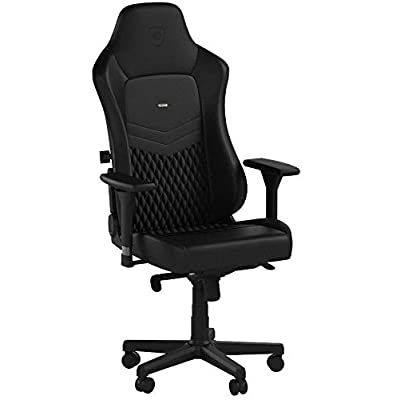 noblechairs HERO Gaming Chair - Office Chair - Desk Chair - Real Leather - Racing Seat Design - Black