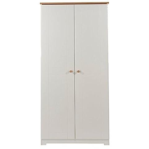 Core Products 2 Door Wardrobe with Oak Veneered Tops, Wood, Soft Cream