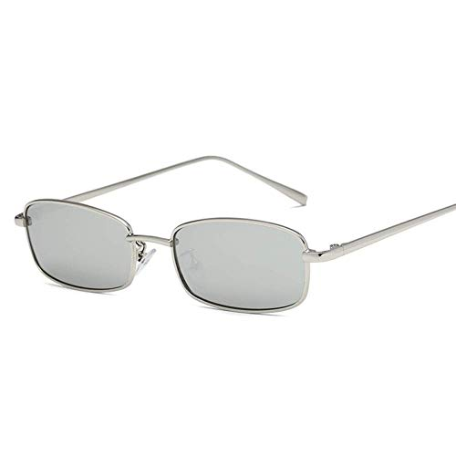 YHEGV Kleine quadratische Sonnenbrille für Frauen männer Retro rote Sonnenbrille transparente klare linse gläser metallrahmen Shades Eyewear