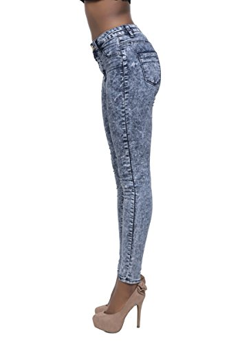 Disco Damen Jeggings Jeanshose Blau