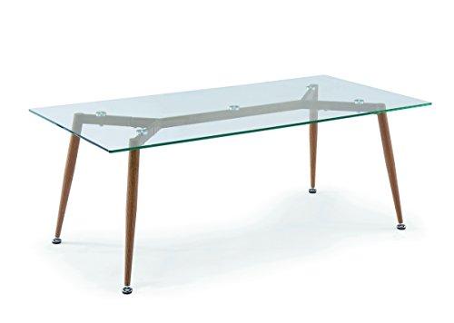 Mobilier Deco Table Basse scandinave en Verre Pieds en métal Imitation Bois