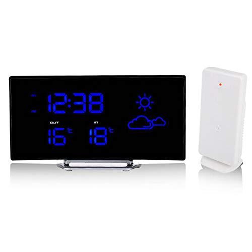 Clocks Gebogene LED Wettervorhersageuhr/Innen und Außentemperaturanzeige/Radio/Wecker