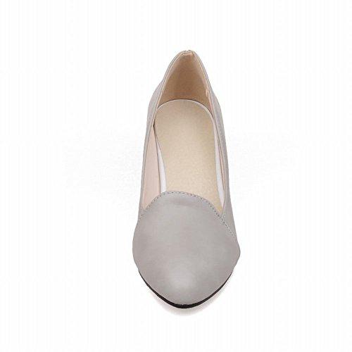 Mee Shoes Damen simpel bequem spitz Geschlossen dicker Absatz Shallow Mund Pumps Grau