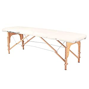 Activeshop Massageliege Klappbar Massagetisch Kosmetikliege Behandlungsliege Massage table Komfort Wood mit 2 Zonen höhenverstellbaren Holz-Füßen und Premium-PU-Leder mit Tragetasche Cream