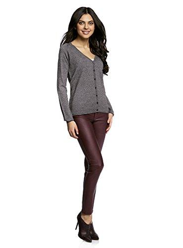 oodji Ultra Damen Stretch-Jeans in Lederoptik Rot (4900N)