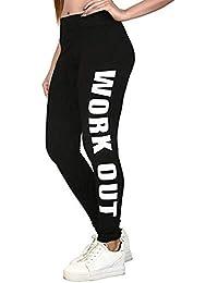 ICW Fashional Women's Cotton Work out Alphabet Print Leggings (fashion28, Black, Free Size)