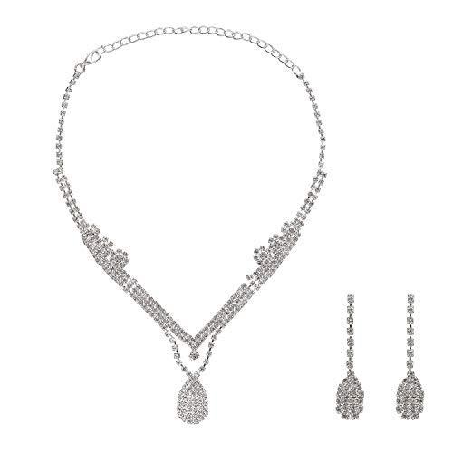 Metme Retro 1920s Accessoires Set Flapper Kostüm Gatsby Zubehör Set Damen Silber Kristall Ohrringe Halskette Schmuck Gatsby Kostüm Accessoires ()