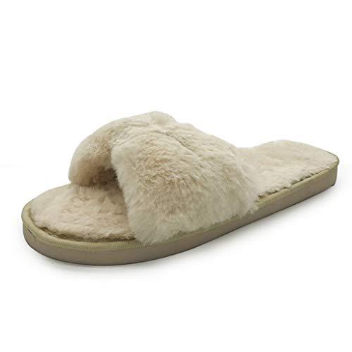 Younthone Elegantes Damen warme Hausschuh, Baumwolle Pantoffel rutschfeste Schuhe für Winter Schleife Knoten Plüsch weiche Pantoffeln Innenräume Bodenbett Zimmer Schuhe ( Beige,36-37 EU)
