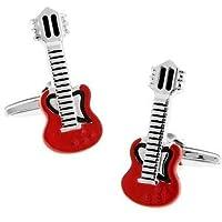 Men Jewelry Baked Enamel Guitar Cufflinks with Gift Box
