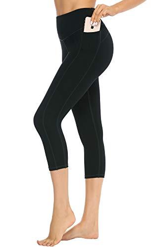 JOYSPELS Capri Yogahose 3/4 Leggings Blickdichte Leggins für Yoga Sport Laufen mit Taschen High Waist Leggins Schwarz M -