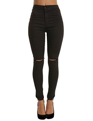 Damen Hose Stretch Jeans Risse am Knie High Waist Zerrissen Jeanshose Skinny Slim Hochbund Röhrenjeans Leggings Hose