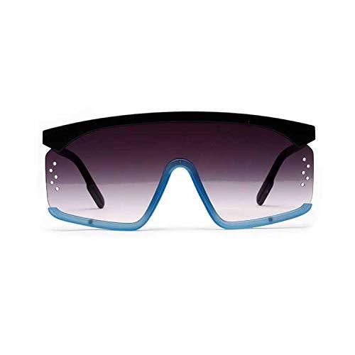 Siamese übergroße Sonnenbrille Frauen Men Square Twotone Big Sun-Glas-Halbrand Gradient Brillen, 1