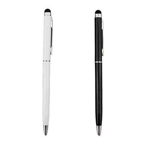 HOXO-[Twin Pack] schwarz und weiß 2in 1Eingabestift und Kugelschreiber Pen Set. Universal-Stylus-Eingabestift Stylus Pen Pack
