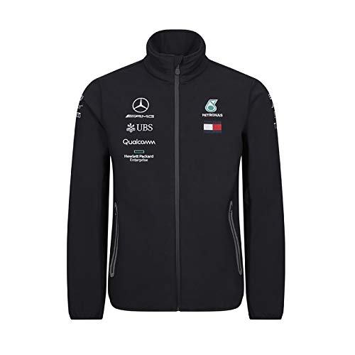 Official Formula 1 Merchandise | Männer | Offizielle Mercedes-AMG Petronas Motorsport 2019 F1TM | Team Softshell Jacke | Schwarz | Polyester | Größe: M