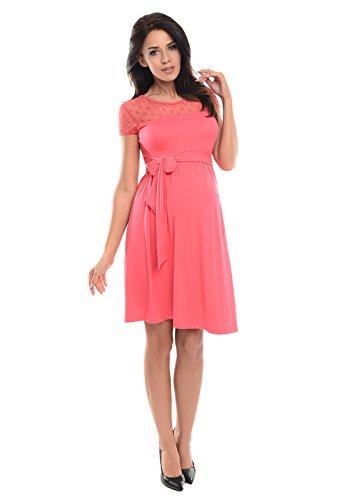 Purpless Maternity Kurzarm A-Linie Schwangerschaft Kleid mit Polka Dots Spitze D004 (38, Raspberry)