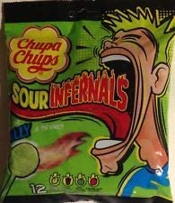 Chupa Chups Sour Infernals 12 Assorted Flavour Lollipops Packet, 114g