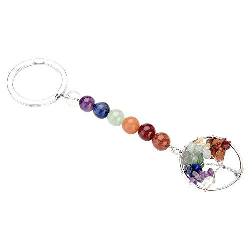 QGEM Schlüsselband Edelstein Lebensbaum Schlüsselanhänger Baum des Lebens Heilsteine Anhänger Keychain Ring mit 7 Chakra Kugelsteine -
