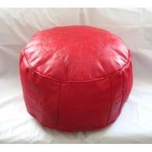Pouf Marocain Artisanal 100% Vrai cuir Durable (Rouge)