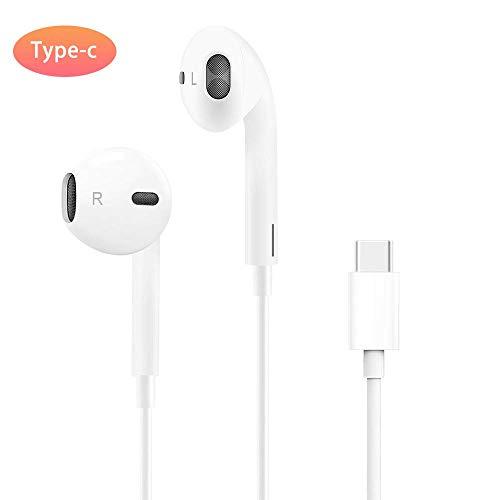 ZERKAR USB Tipo C Auriculares USB Type C Earphone In Ear Auriculares con Micrófono y Control para Huawei P30/P20/Mate 20, Google Pixel 3/3XL, Pad Pro/MacBook, HTC U12/11, Moto Z
