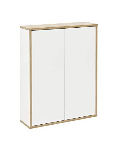 FACKELMANN Doppel-Hängeschrank Finn/Badschrank mit Push-to-Open/Maße (B x H x T): ca. 60 x 75 x 20,5 cm/Schrank fürs Bad mit 2 Türen/Korpus: Weiß/Front: Weiß/Rahmendekor: Braun hell -