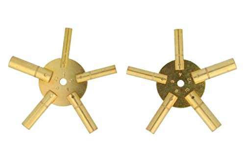 Uhrenschlüssel für Wanduhren (3-4-5-6-7-8-9-10-11-12) 2 Stück , Sternschlüssel