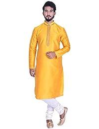 Manyavar Men's Full Sleeve Regular Fit Banded Collar Striped Kurta & Churidar Set