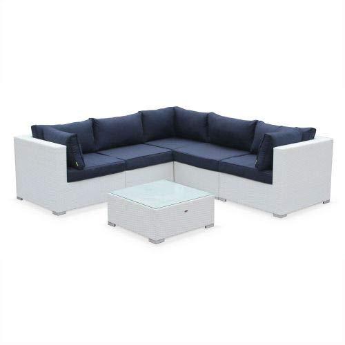 Salon de Jardin en résine tressée - Napoli - Blanc, Coussins Marine - 5 Places - 2 fauteuils sans accoudoir, 3 fauteuils d'angle, Une Table Basse