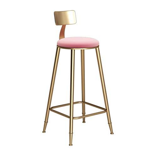 GJD Stuhl Hocker mit Rückenlehne Rosa Schwammauflage Küchenstuhl | Bar, Gold, Sitzhöhe: 60 cm