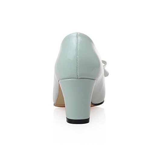 VogueZone009 Femme Verni Tire Fermeture D'Orteil Pointu à Talon Correct Couleur Unie Chaussures Légeres Vert