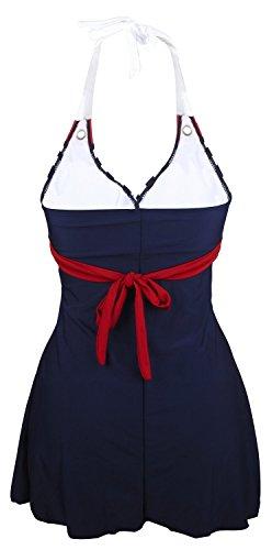 Gigileer Damen Frauen Badeanzug Bademode one Piece Marine Streifen Rock Shorts Rot XL EU 38-40 - 3